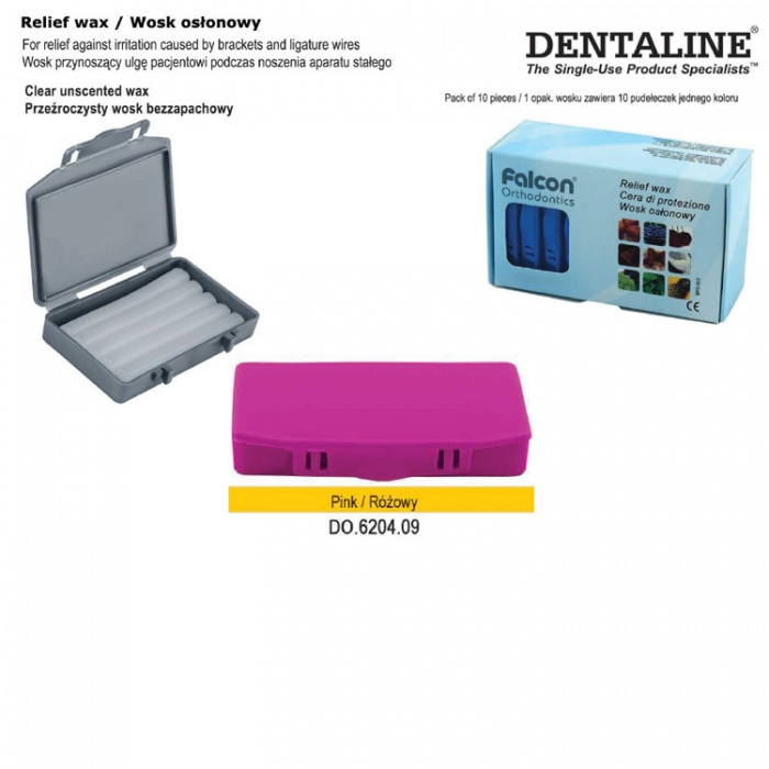 Dentaline Clear Relief Wax Unscented Pink Box (Pack Of 10 Pieces)