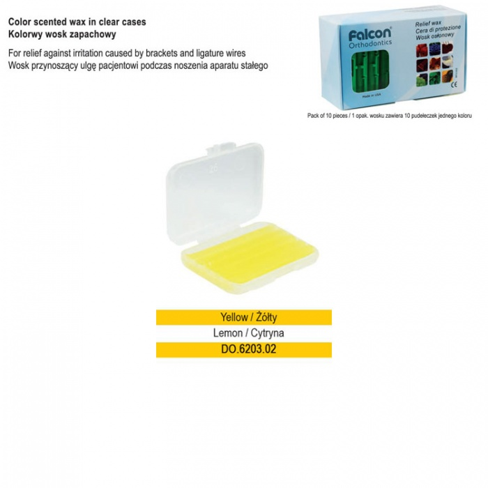 Yellow Relief Wax In Clear Scented Box Lemon (Pack Of 10 Pieces)