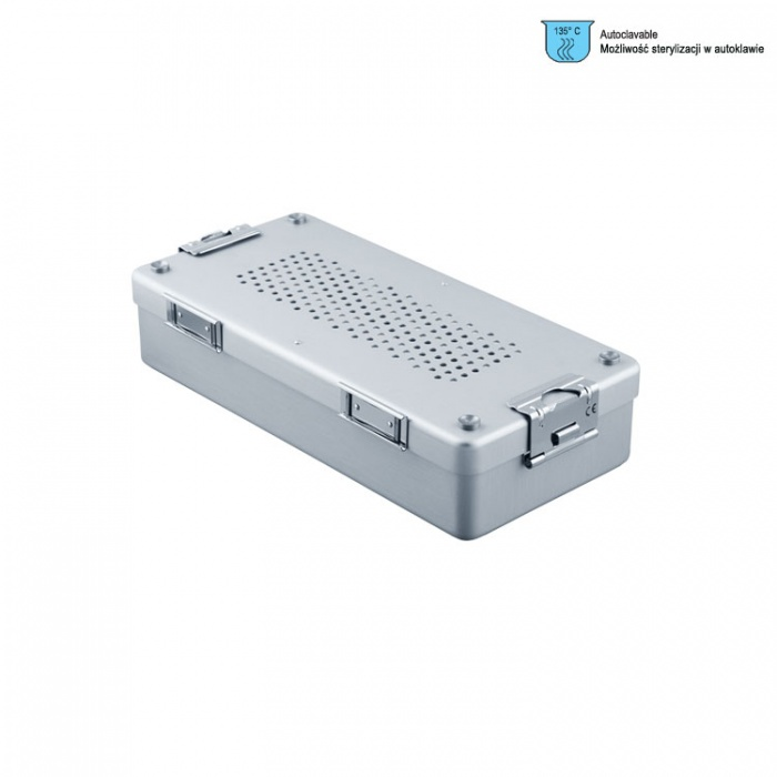 Container Mini Complete With Perforated Lid + Perforated Bottom, 285X135X60mm, Silver