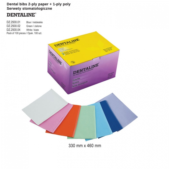 Dentaline Bibs 2-Ply Paper + 1-Ply Poly 33X 46cm White (Pack Of 100 Pieces)