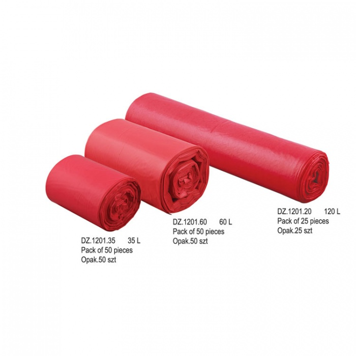 Medical Waste Bag Red Colour 35L, 50 Pieces