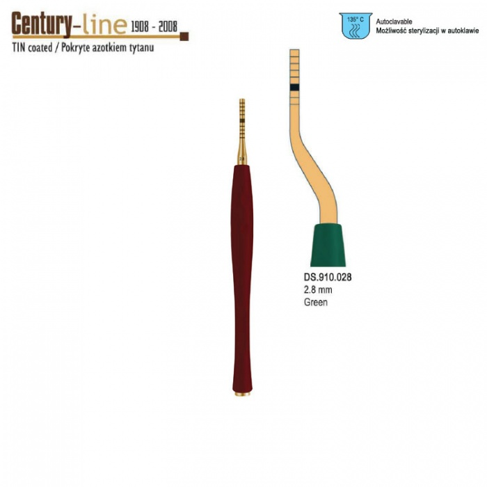 Century-Line Sinus Osteotome Concave Bayonet 2.8mm (Green)