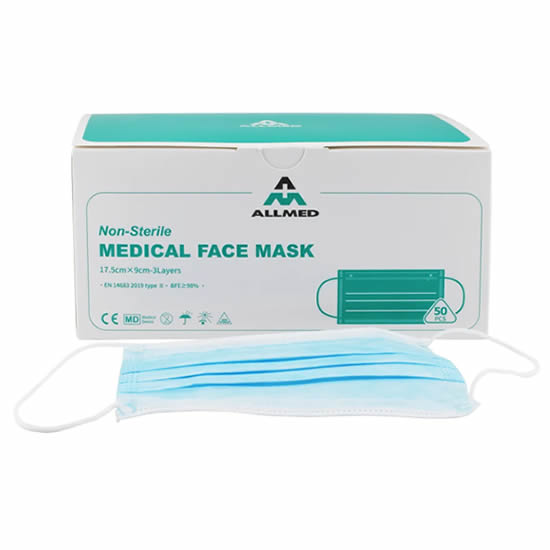 Disposable Medical Face Masks: Type IIR, EN 14683 Certified [Product Code: 305-187]