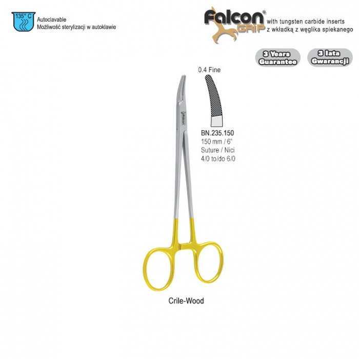 Falcon-Grip Needle Holder Crile-Wood Curved 150mm Tc