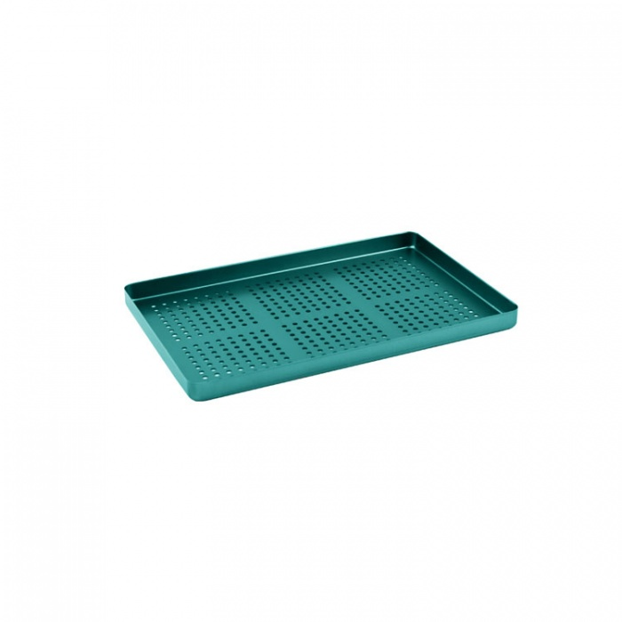 Instrument Tray Maxi Aluminum Perforated 284X183mm Green