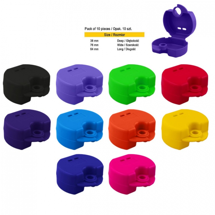 Retainer Cases Euro Maxi Assorted Colours, 38 X 76 X 64mm (10 Pieces)
