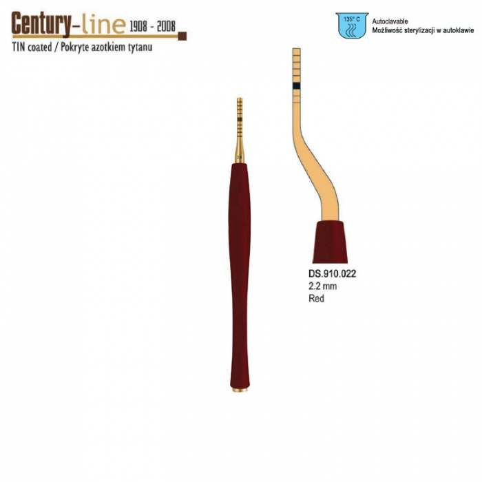 Century-Line Sinus Osteotome Concave Bayonet 2.2mm (Red)