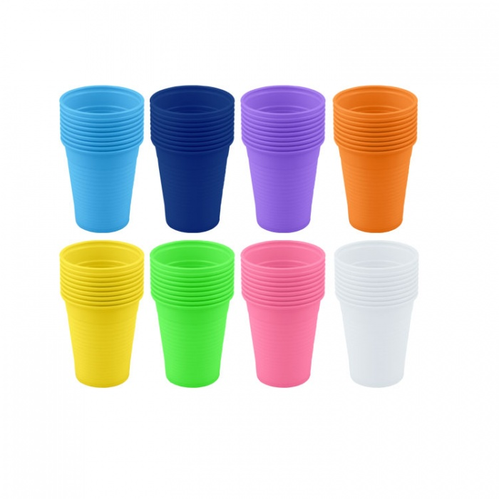 Disposable Plastic Cups Light Blue 200ml (Pack Of 100 Pieces)