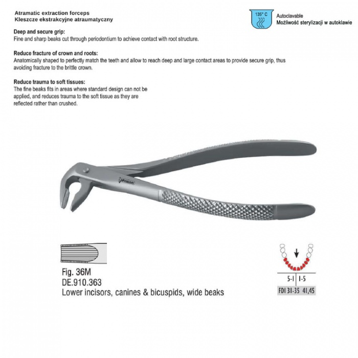Atramatic Extraction Forceps Tapered Beaks Fig. 36M