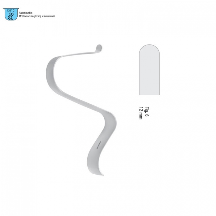 """Retractor Soft Tissue Tessier S-Shape Hdl Fig.6 Straight-Tip 12X125mm / 5"""""""