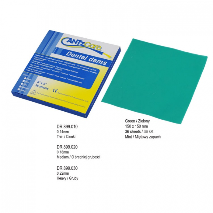 Latex Rubber Dam Thin 150 X 150mm (Pack Of 36 Pieces) Mint