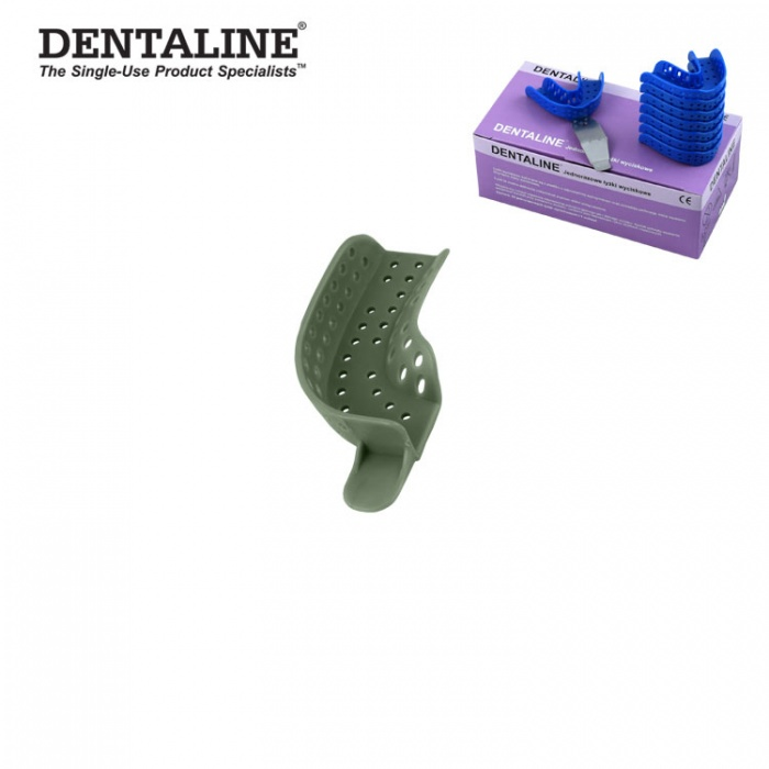 Dentaline Disposable Impression Trays Olive, Partial Upper Left / Lower Right Fig. 22 (25 Pieces)