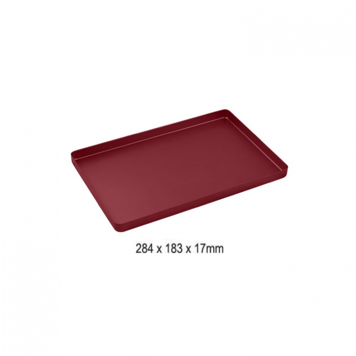 Instrument Tray Maxi Aluminum Solid 284X183mm Red