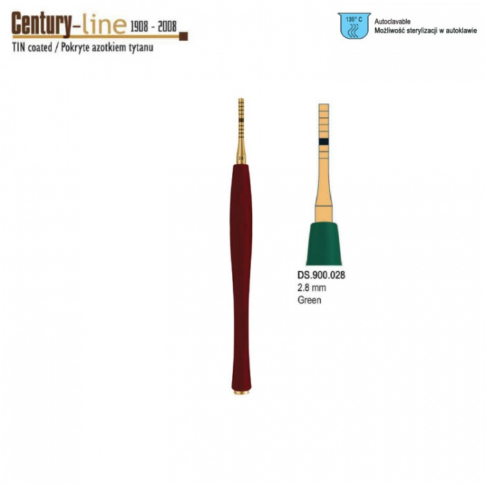 Century-Line Sinus Osteotome Concave Straight 2.8mm (Green)