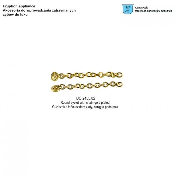 Eruption Appliance, Round Eyelet With Chain Gold Plated