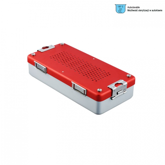 Container Mini Complete With Perforated Lid + Perforated Bottom, 285X135X60mm, Red