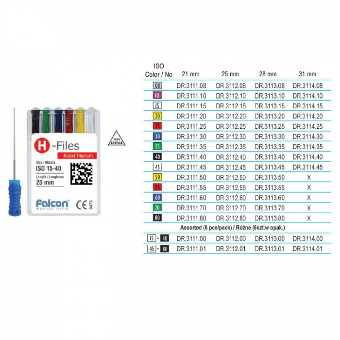 Niti H-Files, Iso # 15 To 40, 21mm Assorted (6 Pieces)