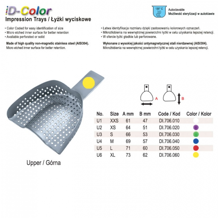 Id-Color Impression Tray Regular Perforated Without Rim Upper Fig. 2, Size XS Yellow