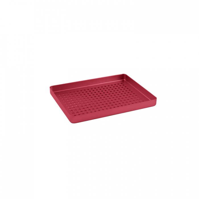 Instrument Tray Midi Aluminum Perforated 180X140mm Red