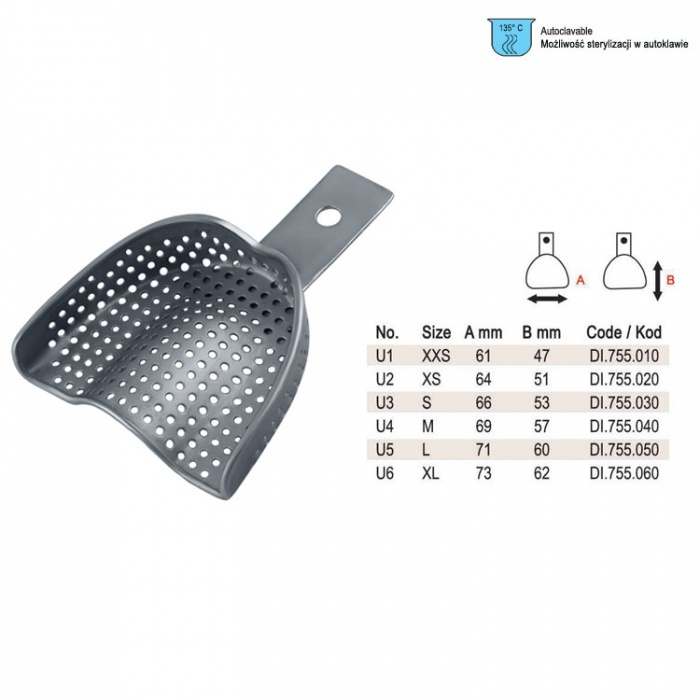 Impression Tray Regular Perforated Upper Fig. 1, Size XXS