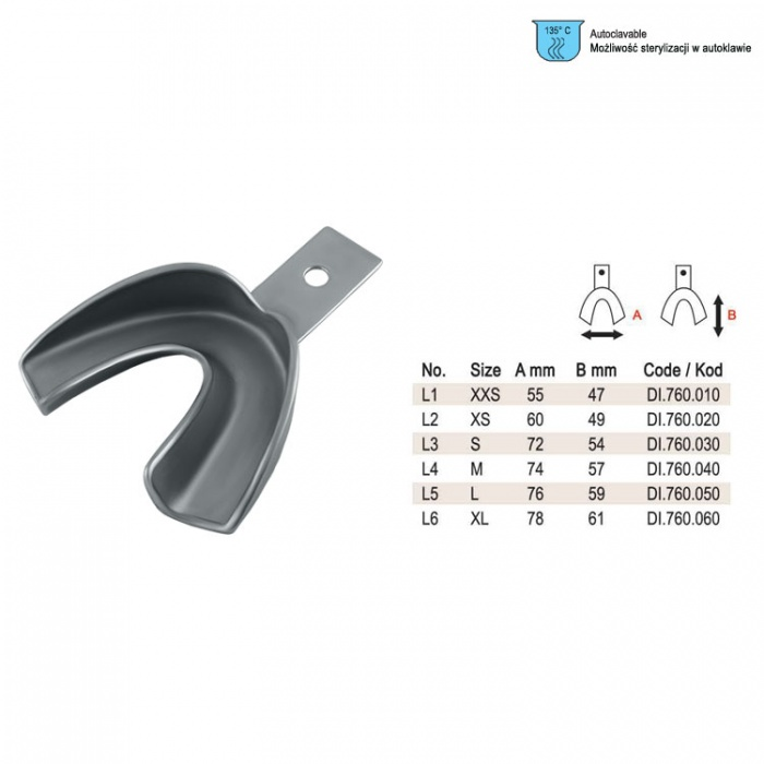 Impression Tray Regular Solid Lower Fig. 2, Size XS