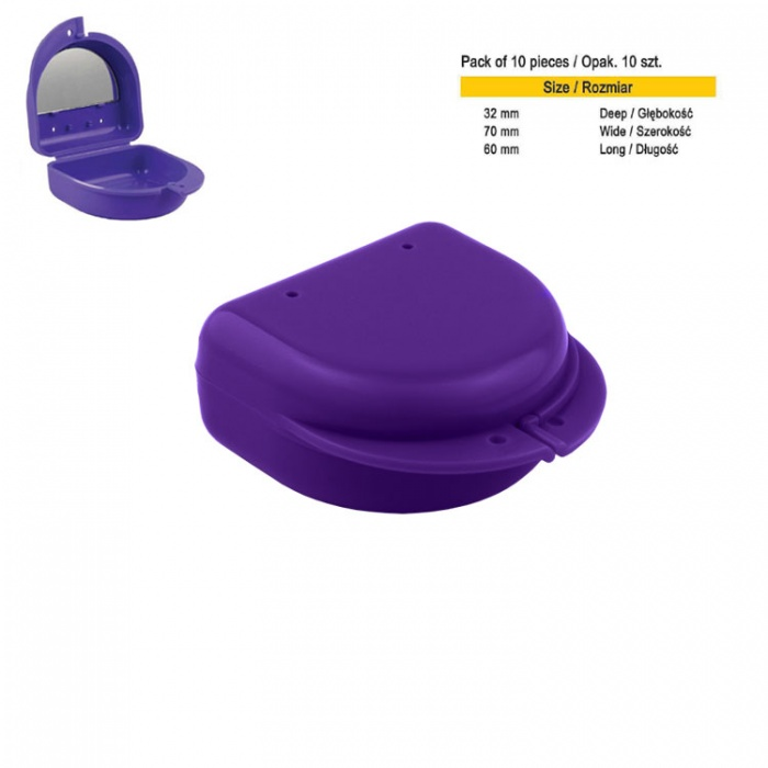 Retainer Cases Classic With Mirror Midi Violet (Pack Of 10 Pieces)