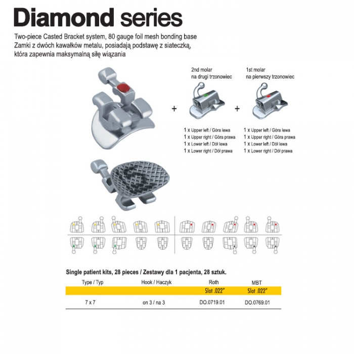 """Diamond Series Brackets Kit Mbt .022"""" Slot, Hooks On 3 With Single Non Conv Buccal Tubes (28 Pieces)"""