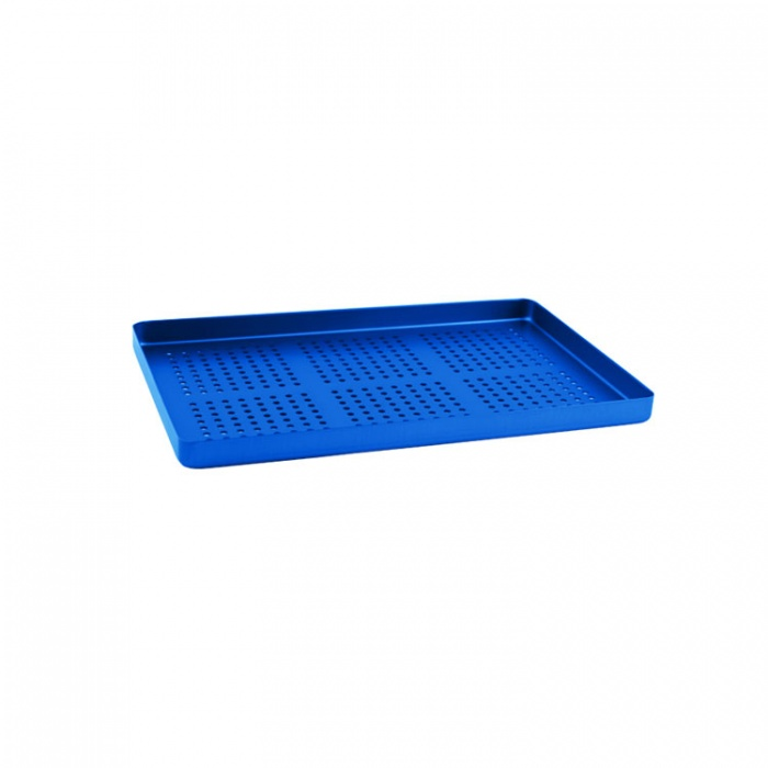 Instrument Tray Maxi Aluminum Perforated 284X183mm Blue