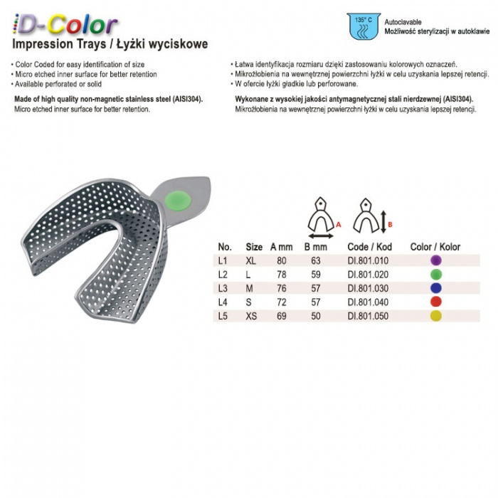 Id-Color Impression Tray Regular USA Model Perforated Lower Fig. 1, Size XL