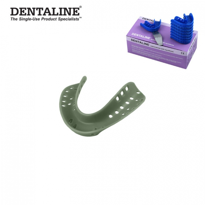 Dentaline Disposable Impression Trays Olive, Edentulous Lower Size L Fig. 4 (25 Pieces)