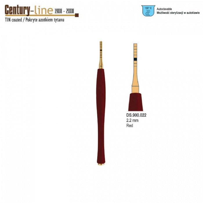Century-Line Sinus Osteotome Concave Straight 2.2mm (Red)