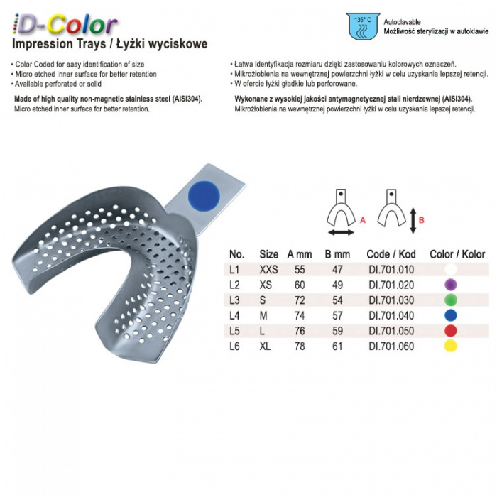 Id-Color Impression Tray Regular Perforated Without Rim Lower Fig. 2, Size XS Yellow