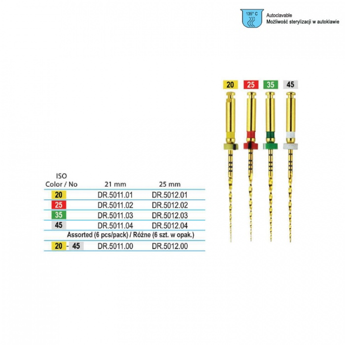 Niti W Plus Rotary File 21 Small Yellow 25mm (Pack Of 6 Pieces)