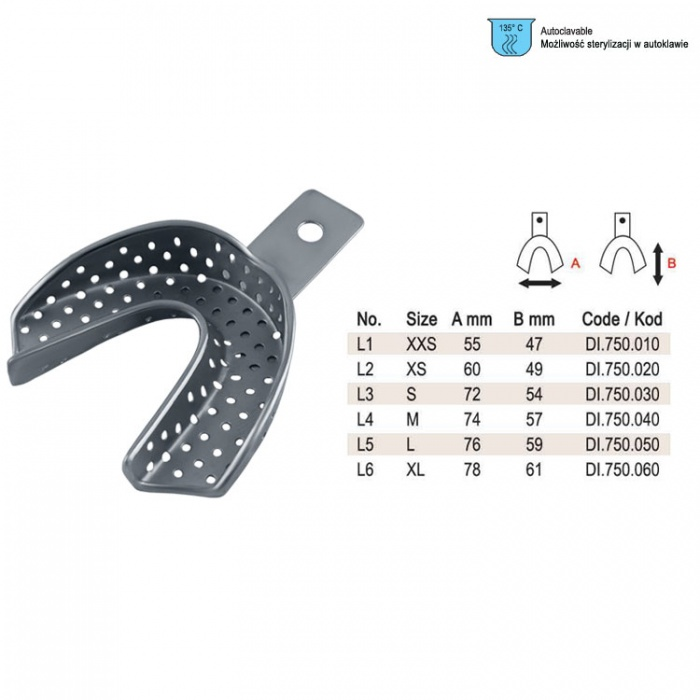 Impression Tray Regular Perforated Lower Fig. 2, Size XS