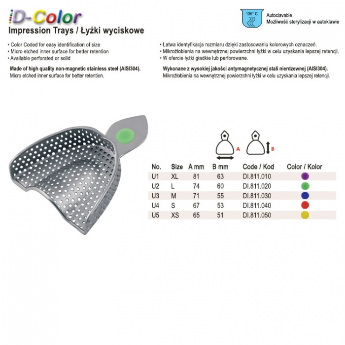 Id-Color Impression Tray Regular USA Model Perforated Upper Fig. 1, Size XL