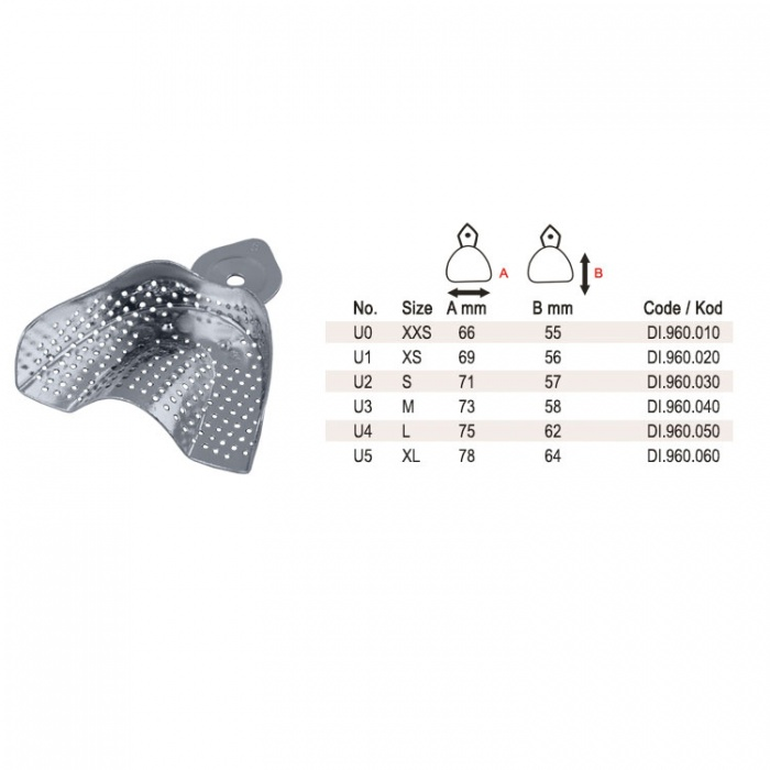 Aluminum Impression Tray Regular Perforated Upper Fig. 1, Size XS