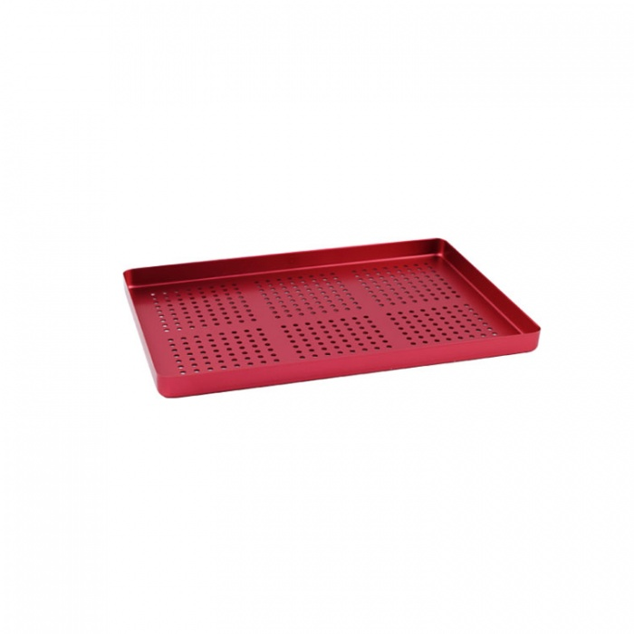 Instrument Tray Maxi Aluminum Perforated 284X183mm Red